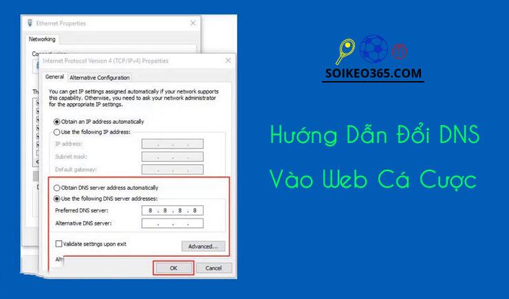 Cách đổi DNS vào web cá cược